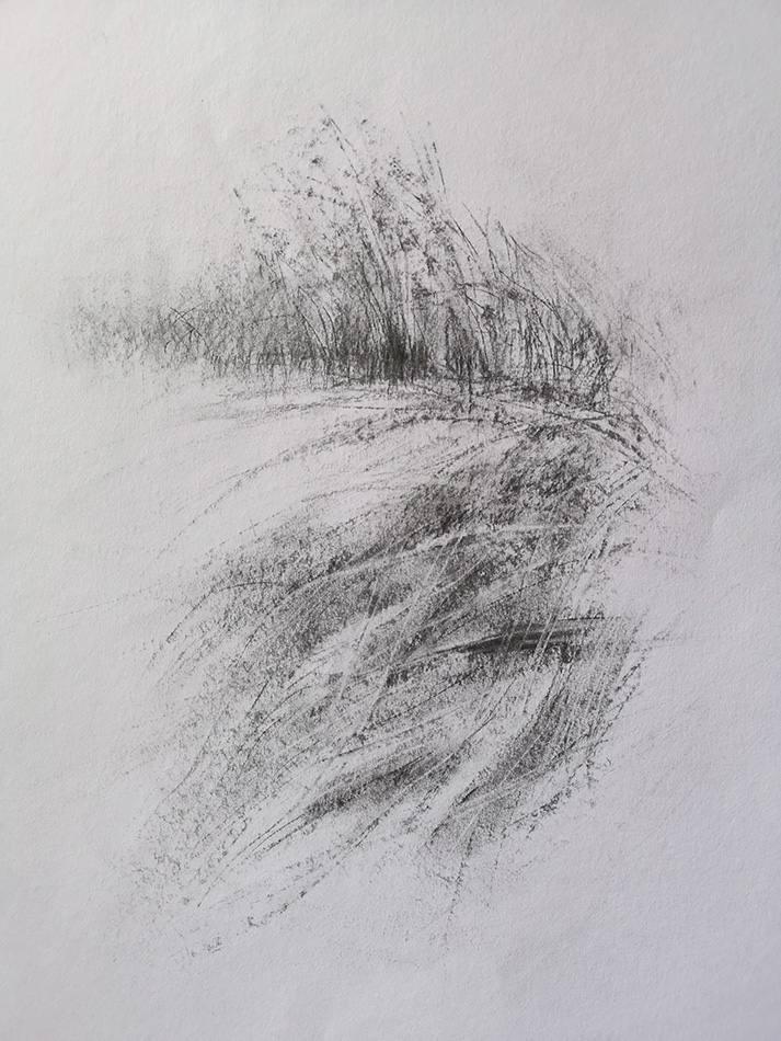 L'ombre sur le sable – Fusain sur papier